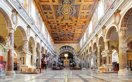 ROME, MARCH - 21: Interior of church Santa Maria Aracoeli. March. 21, 2014 in Rome, Italy Royalty Free Stock Photo