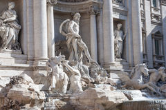 ROME - MAY 2009: Facade of Trevi Fountain largest Baroque fountain in the city and one of the most famous in the world. The Trevi Royalty Free Stock Photo