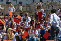 Rome, May 9, 2014 - Flash mob I love EU . Minister Stefania Giannini on the steps of Piazza di Spagna Stock Photos