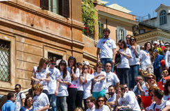 Rome, May 9, 2014 - Flash mob I love EU . Minister Stefania Giannini on the steps of Piazza di Spagna Royalty Free Stock Photos