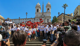 Rome, May 9, 2014 - Flash mob I love EU . Minister Stefania Giannini on the steps of Piazza di Spagna Stock Images