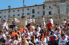 Rome, May 9, 2014 - Flash mob I love EU . Minister Stefania Giannini on the steps of Piazza di Spagna Royalty Free Stock Image