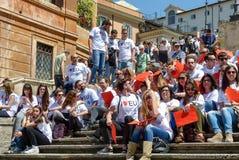 Rome, May 9, 2014 - Flash mob I love EU . Minister Stefania Giannini on the steps of Piazza di Spagna Stock Image