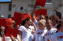 Rome, May 9, 2014 - Flash mob I love EU . Minister Stefania Giannini on the steps of Piazza di Spagna Stock Photography