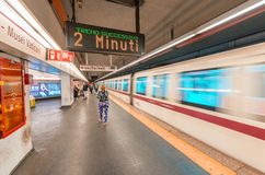 ROME - MAY 20, 2014: Tourists in city subway station. The city i Royalty Free Stock Photos