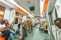 ROME - MAY 20, 2014: Tourists and locals on city subway. The cit Royalty Free Stock Photos