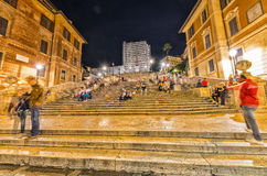 ROME - MAY 20, 2014: Tourists visit Spanish steps. The city is v Stock Image