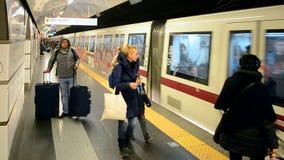 Rome Metro, Termini station, Italy,. ROME - JAN 02: Rome Metro, Termini station on January 02, 2016 in Rome, Italy. It has 60 kilometers (37.3 mi) long with 3 stock video footage