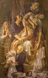 Rome - modern målning av avlagring av korset av den Venezian konstnären Safet Zec 2014 arkivbild
