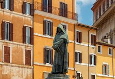 rome Monument aan Giordano Bruno stock foto