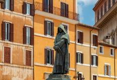 rome Monument till Giordano Bruno Arkivfoto