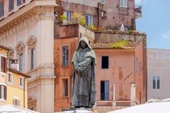 rome Monument till Giordano Bruno Royaltyfria Foton