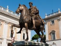 Rome, monument to Marcus Aurelius. Monument to emperor Marcus Aurelius (copy of the original ancient bronze statue) in Piazza del Campidoglio, Rome, Italy stock photography