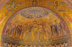 Rome - mosaic Coronation of the Virgin from main Apse of Santa Maria in Trastevere church from 13th-century by Pietro Cavallini. Stock Photos