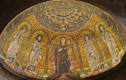 Rome - mosaic of Virgin Mary  -Francesca Romana Stock Photos