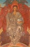 Rome - mosaiken av unga Jesus Christ Pentokrator n den huvudsakliga absid av den Chiesa di San Paolo för anglicanskyrka dentroen  Arkivbild
