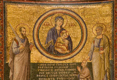 Rome - Mosiac from Basilica di Santa Maria in Trastevere by Pietro Cavallini. Virgin Mary and Peter and Paul apostle Royalty Free Stock Images