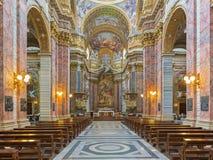 Rome - The nave of baroque church Basilica dei Santi Ambrogio e Carlo al Corso. Royalty Free Stock Photos