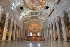 Rome -The nave of church Chiesa di San Pietro in Vincoli with the antic columns. Stock Image