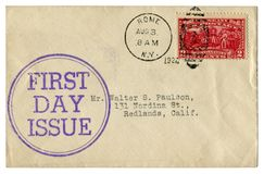Rome, New York, The USA  - 3 August 1927: US historical envelope: cover with round ink cachet First day issue, red postage stamp S royalty free stock photos