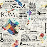 Rome newspaper background. Imitation of retro newspaper background Rome travel. Seamless pattern Stock Photography