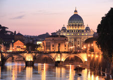 Rome at Night. The Vatican with bridges over the River Tiber at Rome, Italy