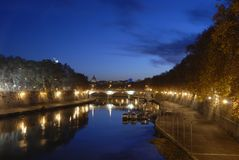Rome by night. A view of the tiber river just before sunrise. Rome, Italy Royalty Free Stock Photo