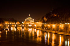 Rome by night. View of rome and Tiber river by night stock photo