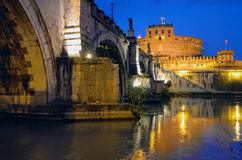 Rome at Night. View of the fortress in Rome at night Stock Image