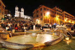 Rome by night. Rome, Italy - 29 March, 2012: Night view of splashing fountain in the historical centre of Rome Stock Photography