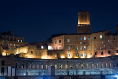 Rome by night. The Trajan forum and market, in the Imperial forum street, in Rome, by night Royalty Free Stock Images