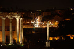 Rome at night. Romes forum at night royalty free stock image