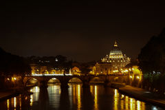 Rome by night. From bridge Umberto I. Saint Peters basilica in Rome, Italy Royalty Free Stock Photo