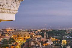 Night Scene Rome Cityscape Aerial View. Rome night cityscape aerial view from vitorio emanuelle monument viewpoint Royalty Free Stock Images