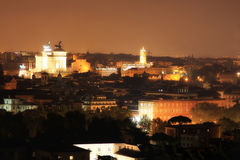 Rome at night from Gianicolo, Italy Royalty Free Stock Photo