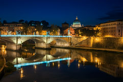 Rome, night landscape. View on Tiber and St Peter's Basilica with the Bridge of Angels Stock Image