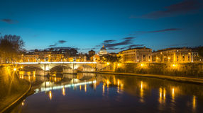 Rome at night. Panorama of Rome, Vatican and Tiber river at night Royalty Free Stock Photography
