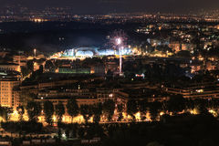 Rome at night. Panorama view of Rome city at night with fireworks. Italy Royalty Free Stock Photography