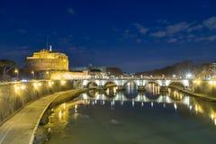 Rome at night. Seen from Ponte Umberto bridge Stock Photo