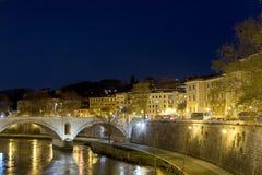Rome at night. Seen from Ponte Umberto bridge Royalty Free Stock Photos