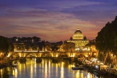 Rome at Night. St. Peter Royalty Free Stock Photography