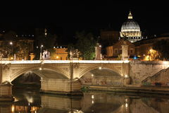 Rome by night St Peter`s Basilica and river Tiber Stock Images