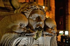 Rome night street with sculpture and old fontaine, italy royalty free stock photos