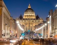 Rome by Night. Vatican Saint Peter Cathedral and city streets Royalty Free Stock Images