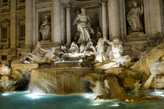 Rome a night view of Fontana di Trevi fountain Stock Images