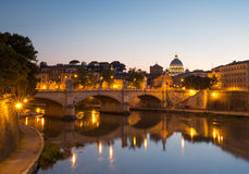 Rome at Night. View of Rome from the Ponte Sant` Angelo Stock Photography