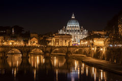 Rome. At night with view on St. Peter cathedral, Italy stock images