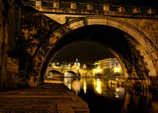 Rome at night. Night view of St. Peter's Basilica from under of St. Angelo bridge, Rome Royalty Free Stock Photos