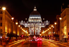 Rome.  Night view on St. Peter`s Cathedral. Rome. Italy. Night view of the cityscape of the Vatican, St. Peter`s Cathedral Royalty Free Stock Images