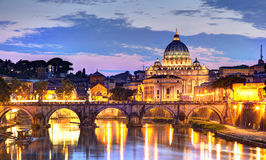 Rome at Night. View of the  Vatican with bridges over the River Tiber in Rome, Italy